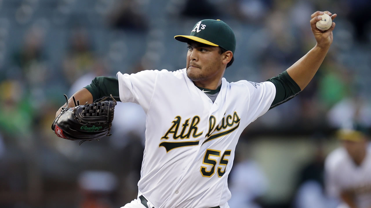 Oakland Athletics pitcher Sean Manaea works against the Detroit Tigers in the first inning of a baseball game Friday, May 27, 2016, in Oakland, Calif.