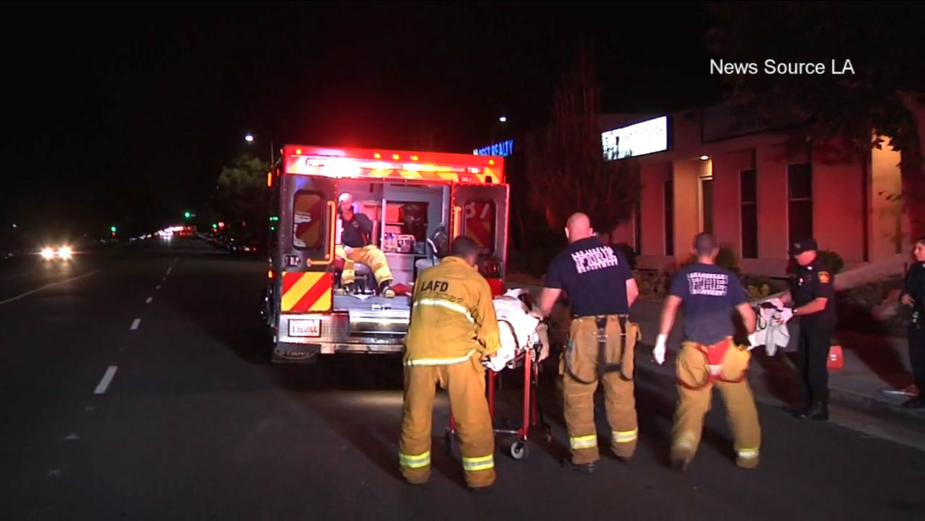 Police say two women were badly injured by a hit-and-run driver in Granada Hills Friday, May 27, 2016.
