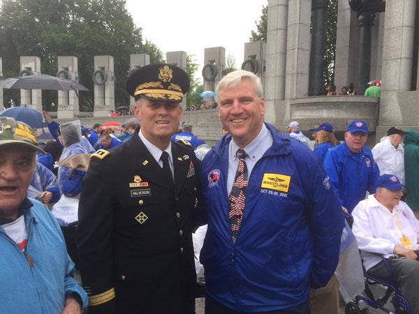<div class='meta'><div class='origin-logo' data-origin='WPVI'></div><span class='caption-text' data-credit=''>3-Star Army Lieutenant General David D. Halverson and Honor Flight Founder Earl Morse honor veterans on May 21, 2016, the 11th anniversary of the very first Honor Flight.</span></div>