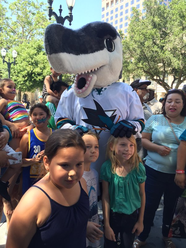 "<div class=""meta image-caption""><div class=""origin-logo origin-image none""><span>none</span></div><span class=""caption-text"">San Jose Sharks fans with mascot S.J. Sharkie in San Jose, Calif., ahead of Game 1 on the Stanley Cup Final on Monday, May 30, 2016. (KGO-TV)</span></div>"