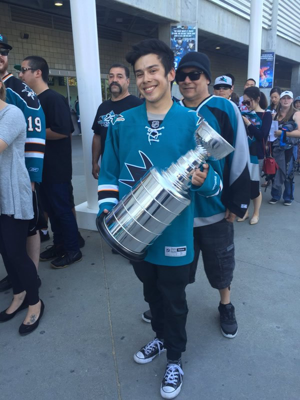 "<div class=""meta image-caption""><div class=""origin-logo origin-image none""><span>none</span></div><span class=""caption-text"">A hockey fan with a Stanley Cup replica, on his way to the viewing party at SAP Center in San Jose, Calif., on Monday, May 30, 2016. (KGO-TV)</span></div>"
