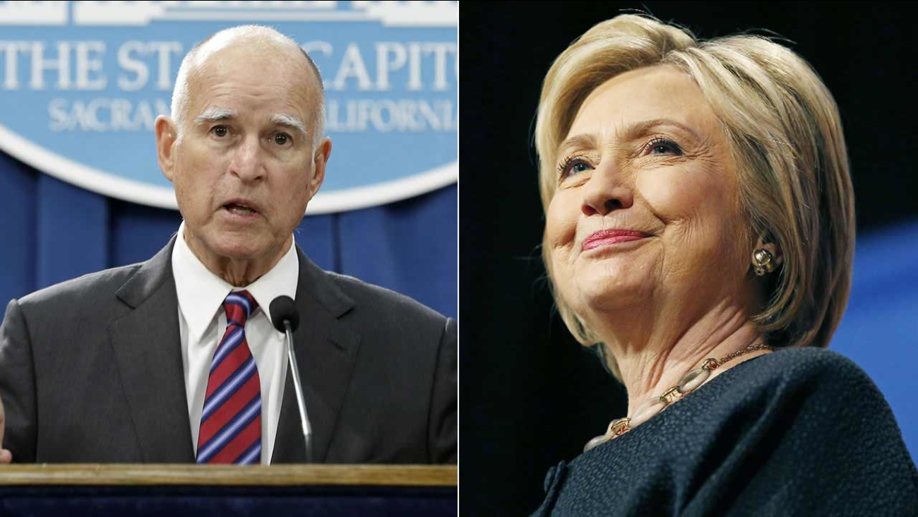 Jerry Brown and Hillary Clinton are shown in file photos.