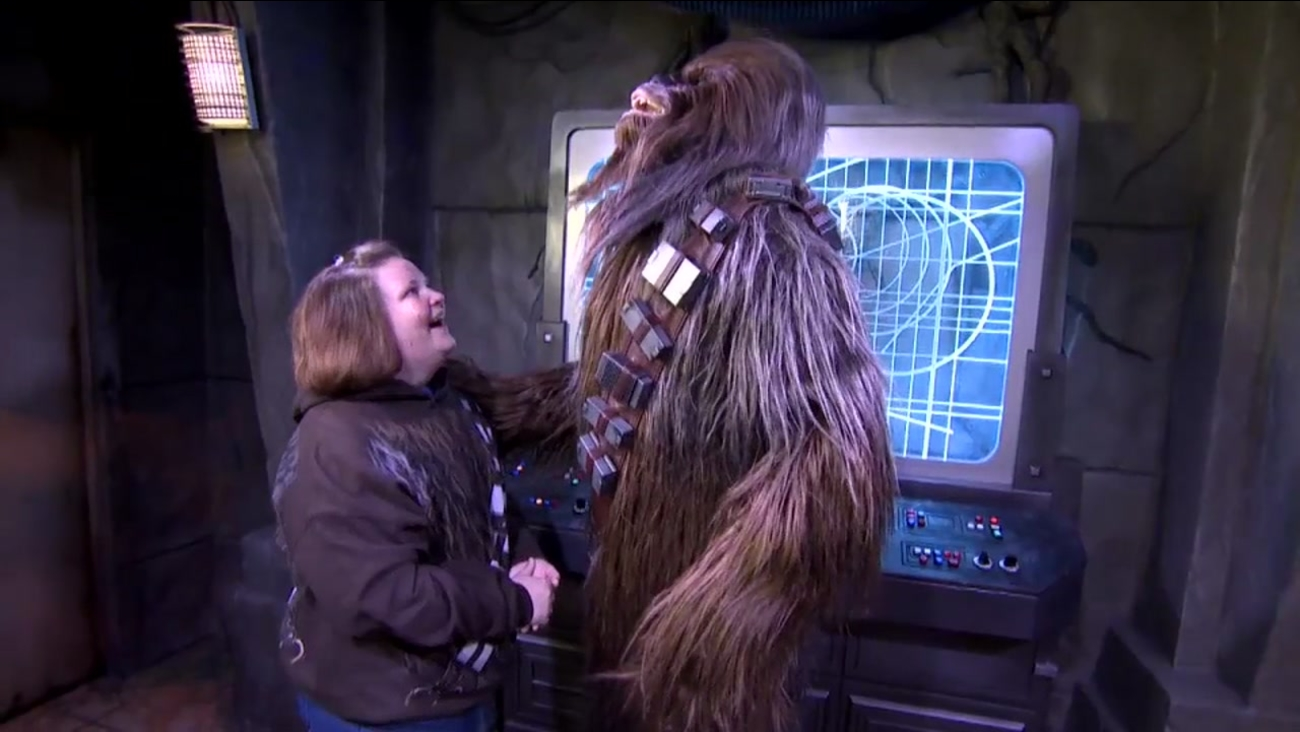 Chewbacca mom meets Chewbacca at Disney World