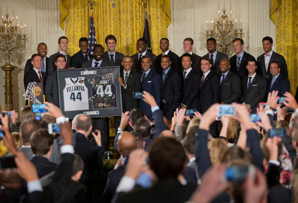 <div class='meta'><div class='origin-logo' data-origin='AP'></div><span class='caption-text' data-credit='AP Photo/Pablo Martinez Monsivais'>President Barack Obama holds up a Villanova team basketball jerseys during a ceremony in the East Room of the White House in Washington, Tuesday, May 31, 2016.</span></div>