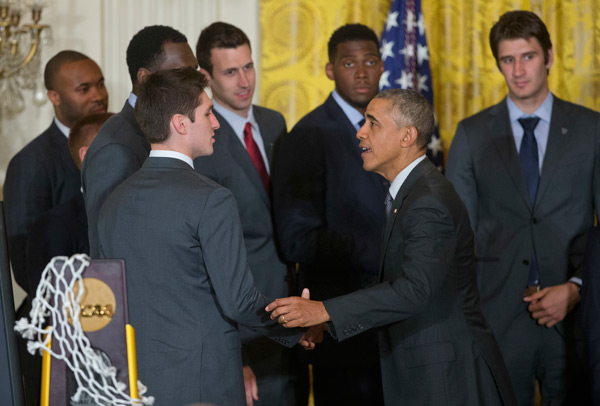 <div class='meta'><div class='origin-logo' data-origin='AP'></div><span class='caption-text' data-credit='AP Photo/Pablo Martinez Monsivais'>President Barack Obama greets Villanova basketball player Ryan Arcidiacono, in the East Room of the White House in Washington, Tuesday, May 31, 2016.</span></div>