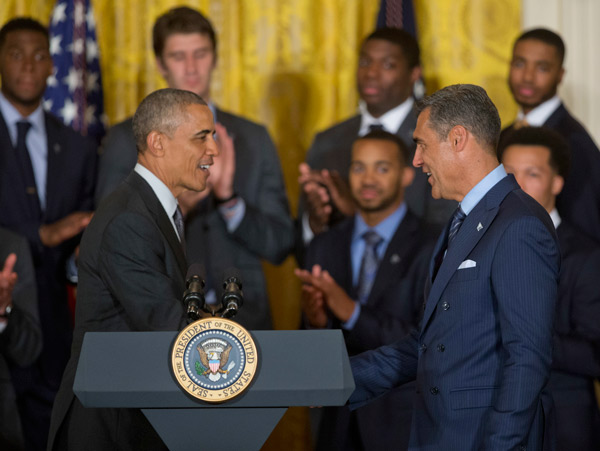 <div class='meta'><div class='origin-logo' data-origin='AP'></div><span class='caption-text' data-credit='AP Photo/Pablo Martinez Monsivais'>President Barack Obama greets Villanova head basketball coach Jay Wright, during a ceremony in the East Room of the White House in Washington, Tuesday, May 31, 2016.</span></div>