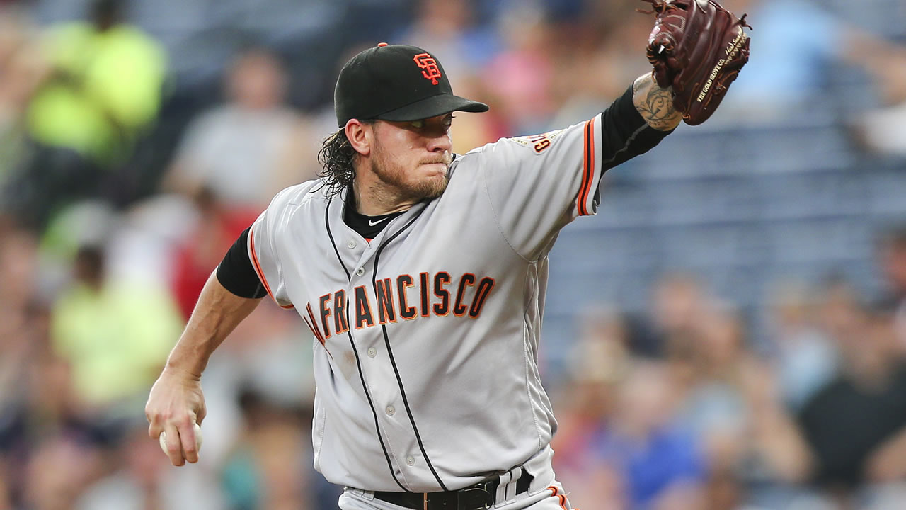 Giants' Jake Peavy works in the fifth inning of a baseball game against the Braves on May 31, 2016, in Atlanta. (AP Photo/John Bazemore)