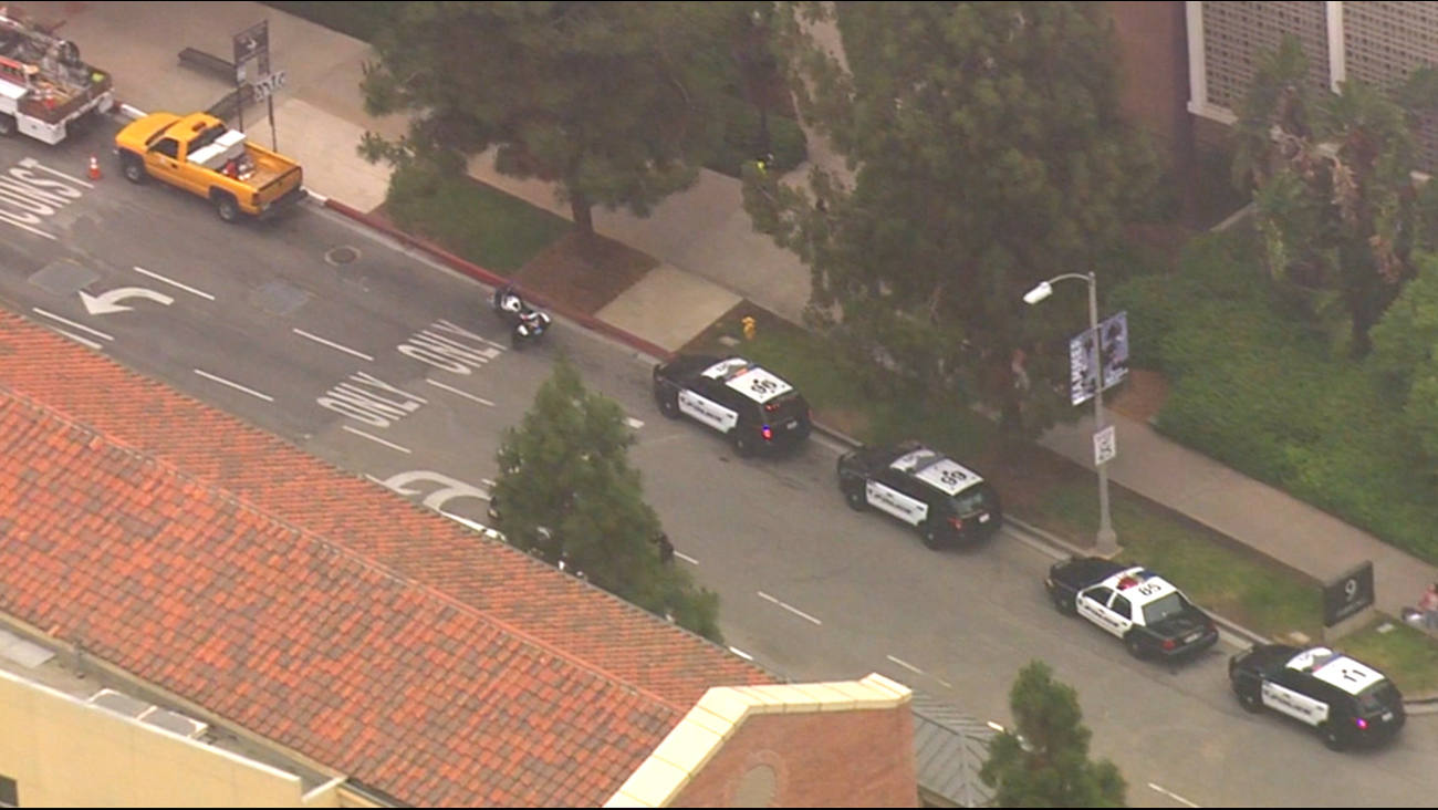 Police vehicles parked on the UCLA campus during a lock-down. June 1, 2016