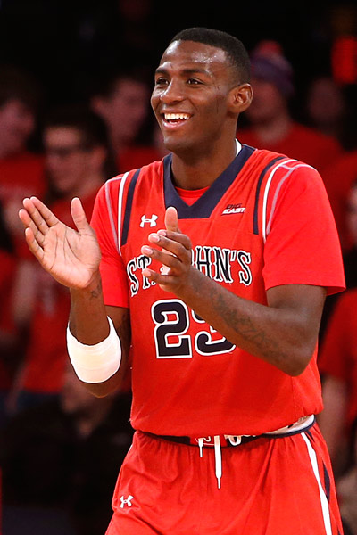 <div class='meta'><div class='origin-logo' data-origin='AP'></div><span class='caption-text' data-credit='AP Photo/Jason DeCrow'>St. John's Rysheed Jordan (23) celebrates during the second half of an NCAA college basketball game against Fordham, Sunday, Dec. 14, 2014, in New York.</span></div>