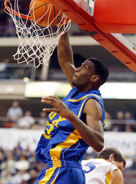 <div class='meta'><div class='origin-logo' data-origin='AP'></div><span class='caption-text' data-credit='AP Photo/Keith Srakocic'>Vaux's Rysheed Jordan, top, dunks behind Johnsonburg's Mitch Holmberg in the second half of the PIAA Class A Boys Basketball championship game on Friday, March 22, 2013 in Hershey,</span></div>