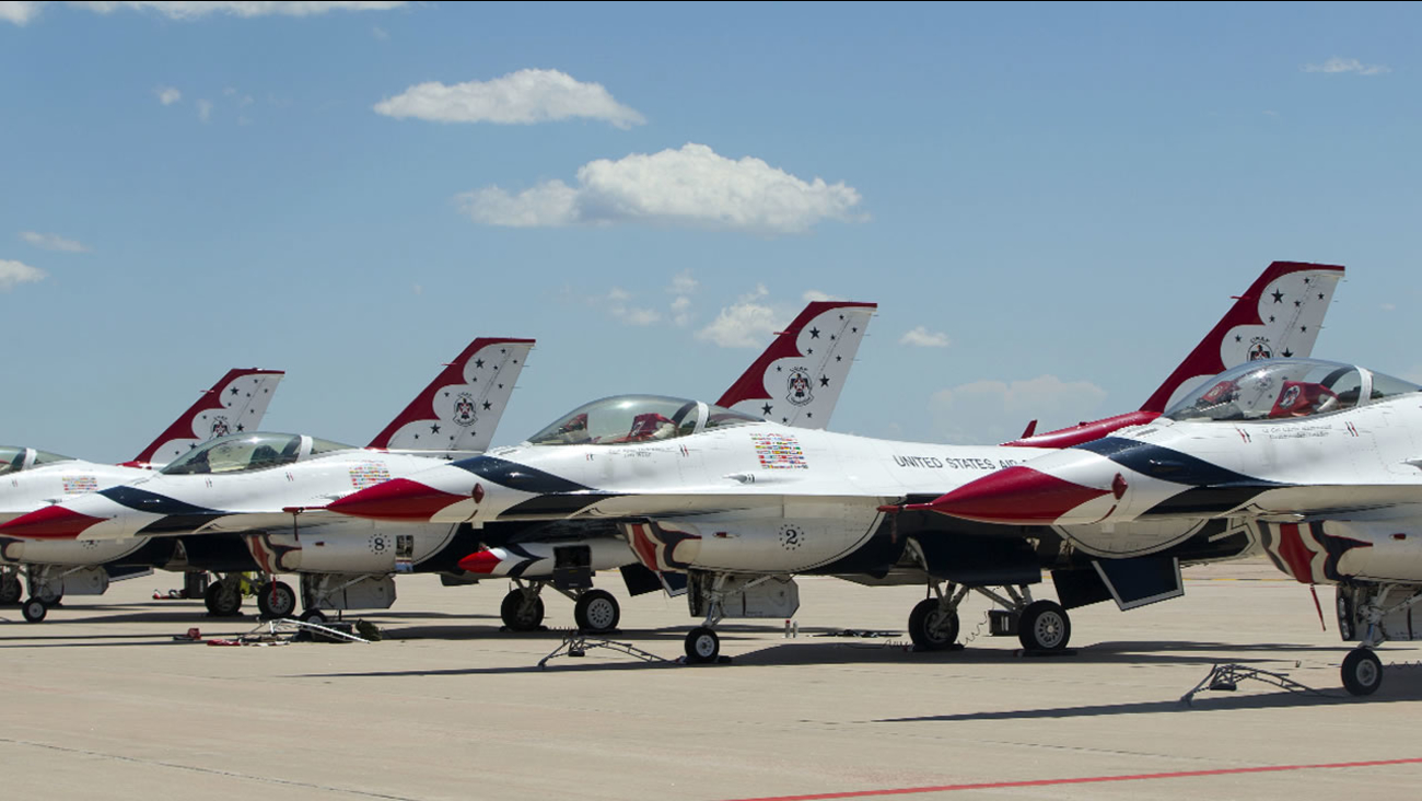 Air Force Thunderbird jets sit on the tarmac at Peterson Air Base, Colo., Thursday, June 2, 2016.