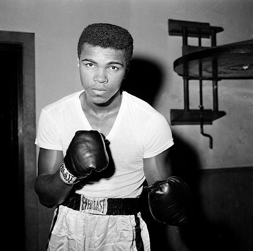 <div class='meta'><div class='origin-logo' data-origin='none'></div><span class='caption-text' data-credit='ASSOCIATED PRESS'>Young heavyweight fighter Cassius Clay is seen at City Parks Gym in New York, Feb. 8, 1962.</span></div>