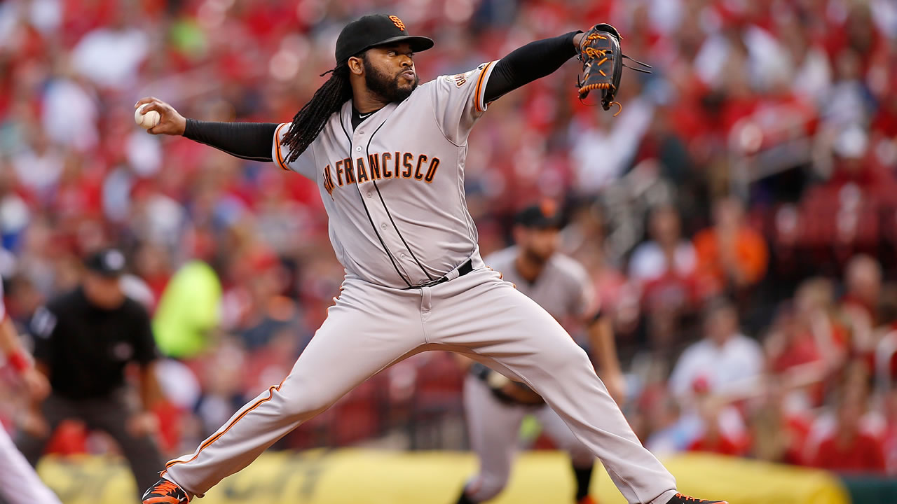 San Francisco Giants starting pitcher Johnny Cueto throws against the St. Louis Cardinals during the first inning of a baseball game Friday, June 3, 2016, in St. Louis.