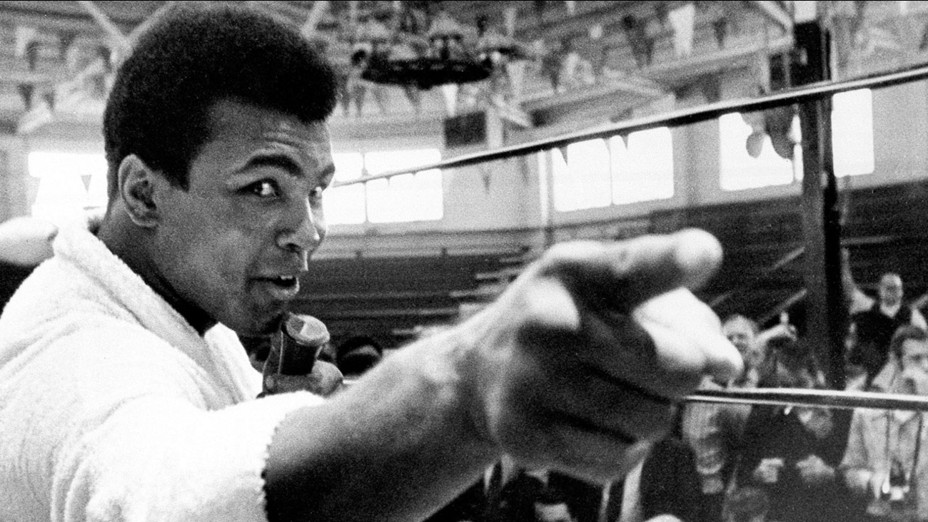 Heavyweight boxer Muhammad Ali makes a point during a news conference that he conducts from inside the ring in Atlanta, Ga., on Oct. 24, 1970.