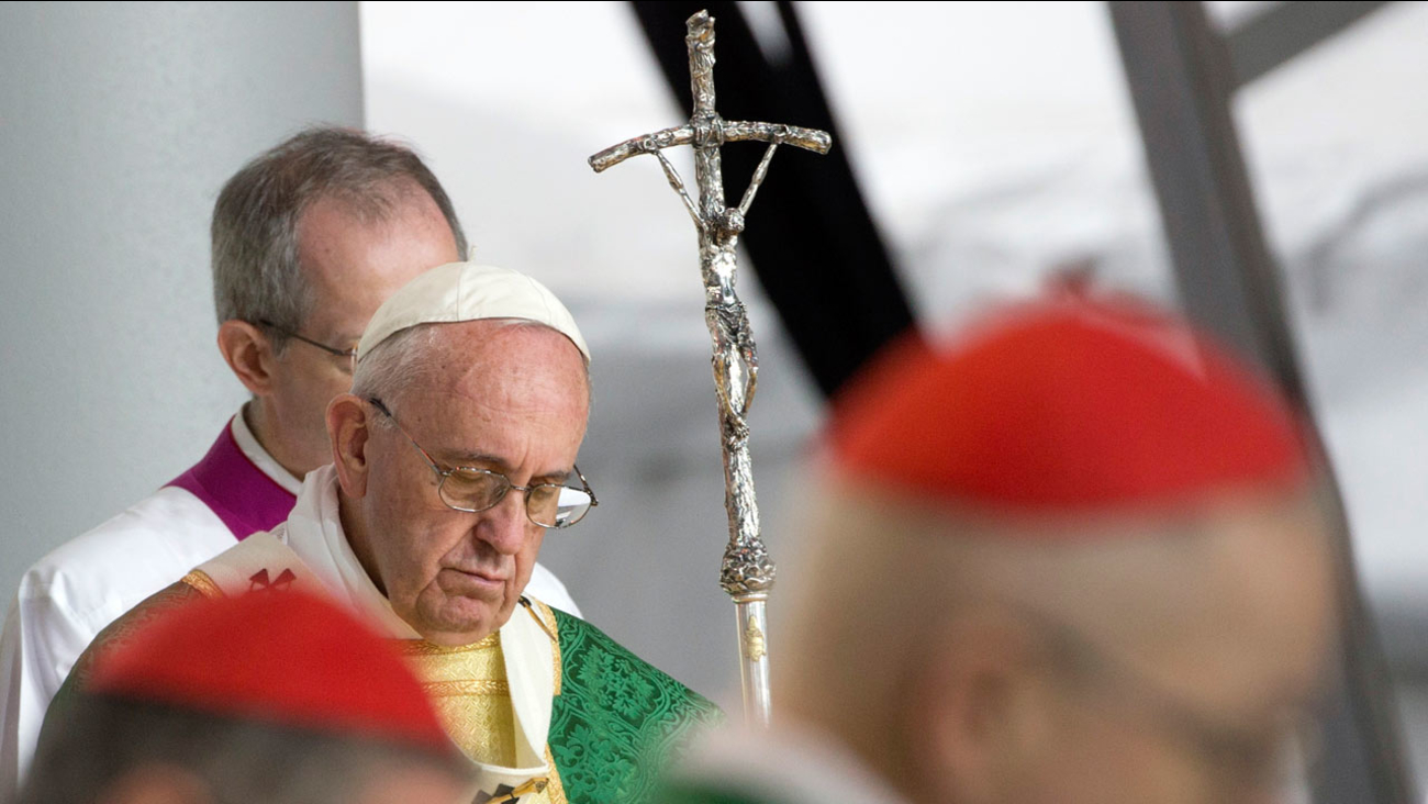 Pope Francis holds his pastoral staff during a Mass on the Benjamin Franklin Parkway, Sunday, Sept. 27, 2015, in Philadelphia.