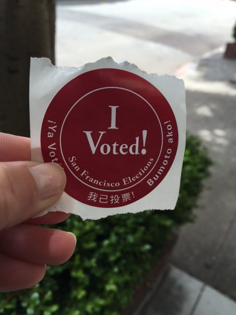 "<div class=""meta image-caption""><div class=""origin-logo origin-image none""><span>none</span></div><span class=""caption-text"">ABC7 News reporter Katie Marzullo shares her voting sticker on Tuesday, June 7, 2016. Send us your Election Day photos and selfies using #abc7now. (KGO-TV)</span></div>"