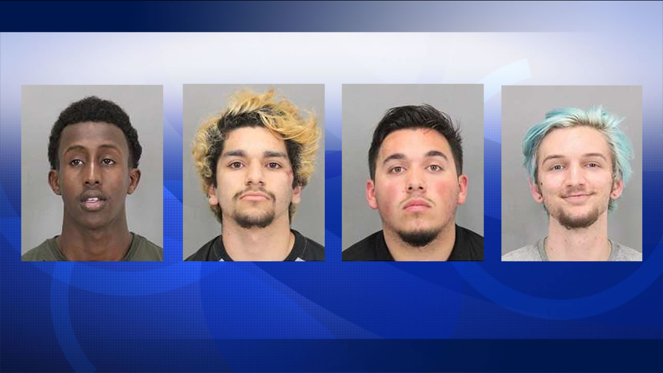 These four were arrested at a Donald Trump rally in San Jose, Calif. on June 2, 2016. From left to right: Ahmed Abdirahman, Robert Trillo, Antonio Fernandez, Michael Kitaigorodsky.