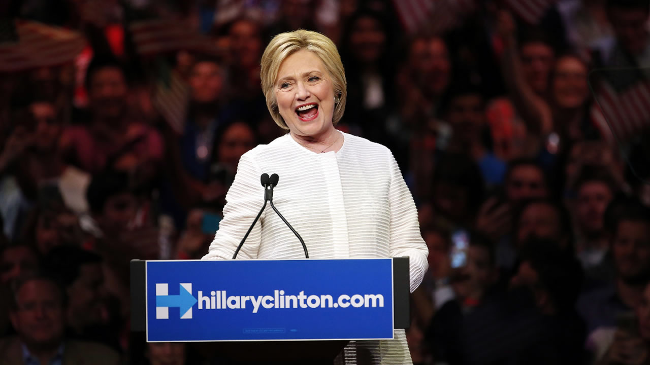 Democratic presidential candidate Hillary Clinton speaks during a presidential primary election night rally, Tuesday, June 7, 2016, in New York.