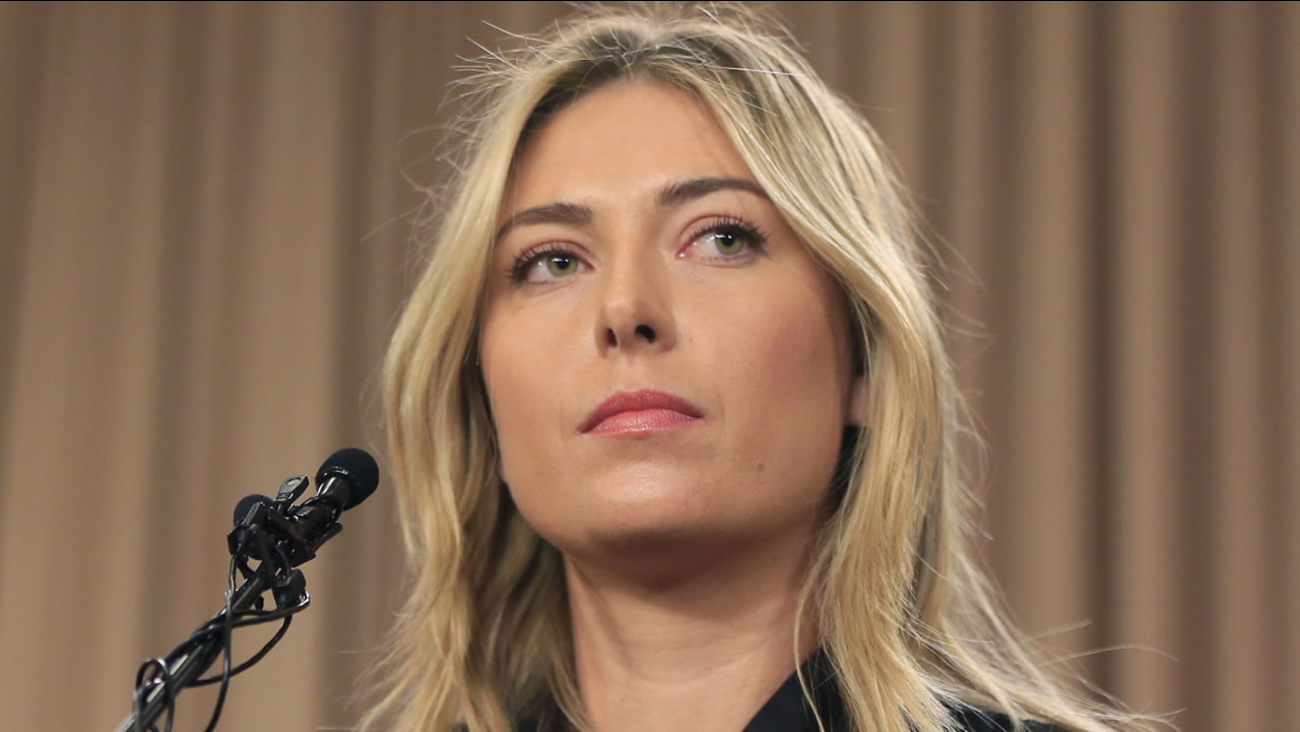 This is a Monday, March 7, 2016 file photo showing tennis star Maria Sharapova speakings about her failed drug test at the Australia Open during a news conference in Los Angeles.