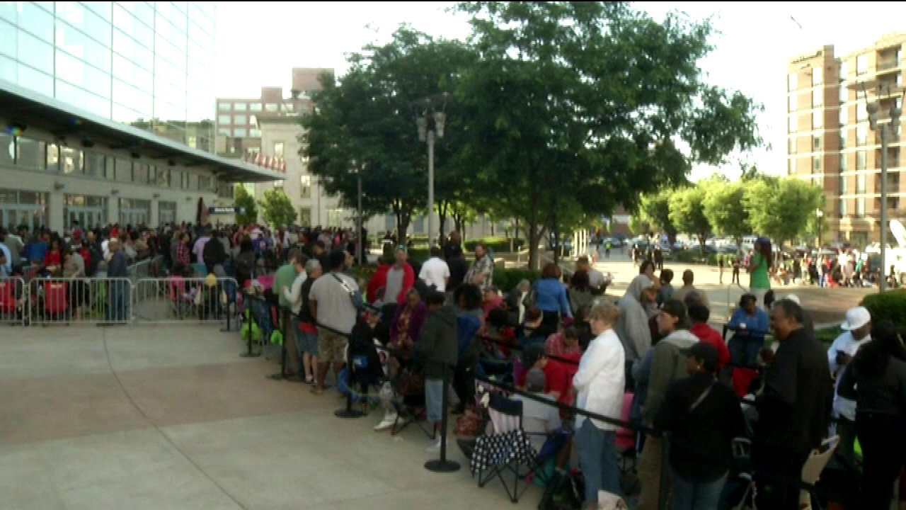 People lined up all night in Louisville just for a shot at free tickets to Friday's Muhammad Ali memorial service.