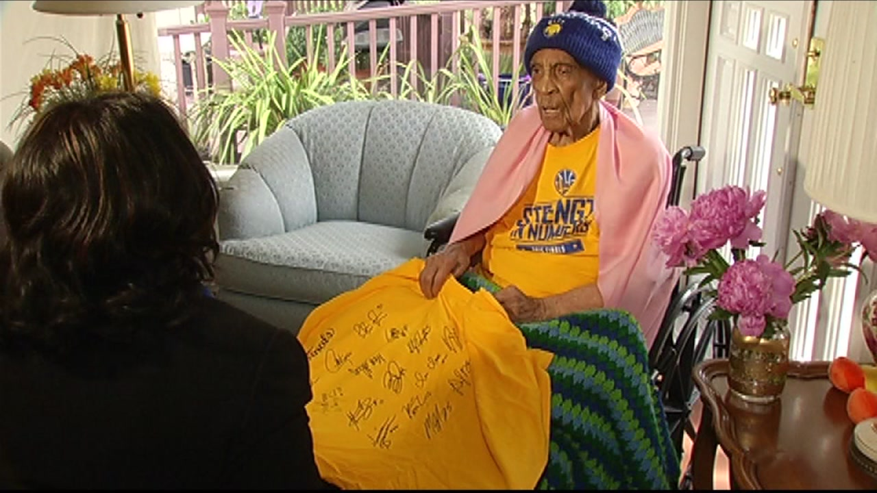 Golden State Warriors super fan Sweetie, 106, talks to ABC7 News reporter Carolyn Tyler on Friday, June 8, 2016.