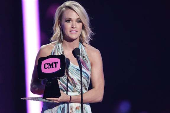 "<div class=""meta image-caption""><div class=""origin-logo origin-image none""><span>none</span></div><span class=""caption-text"">Carrie Underwood accepts the award for female video of the year for ""Smoke Break"" at the CMT Music Awards at the Bridgestone Arena on June 8, 2016, in Nashville, Tenn. (Wade Payne/Invision/AP)</span></div>"