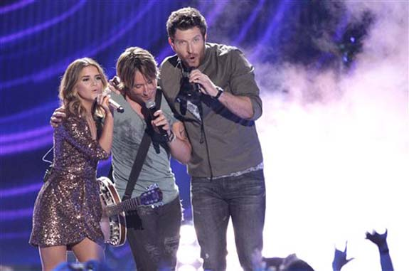 "<div class=""meta image-caption""><div class=""origin-logo origin-image none""><span>none</span></div><span class=""caption-text"">Maren Morris, from left, Keith Urban and Brett Eldredge  perform ""Wasted Time"" at the CMT Music Awards at the Bridgestone Arena on Wednesday, June 8, 2016, in Nashville, Tenn. (Wade Payne/Invision/AP)</span></div>"