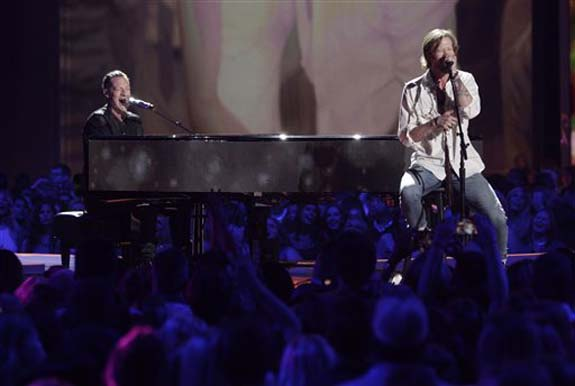 "<div class=""meta image-caption""><div class=""origin-logo origin-image none""><span>none</span></div><span class=""caption-text"">Tyler Hubbard, left, and Brian Kelley, of Florida Georgia Line perform H.O.L.Y. at the CMT Music Awards at the Bridgestone Arena on Wednesday, June 8, 2016, in Nashville, Tenn. (Wade Payne/Invision/AP)</span></div>"