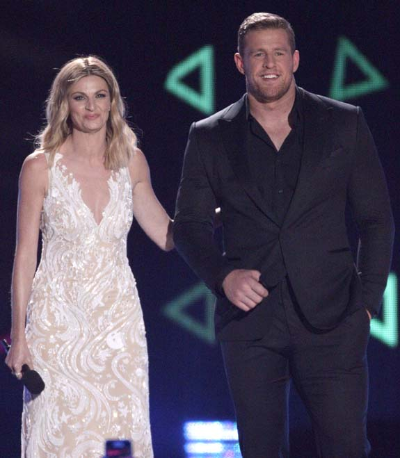 "<div class=""meta image-caption""><div class=""origin-logo origin-image none""><span>none</span></div><span class=""caption-text"">Host Erin Andrews, left,  and J.J. Watt appear on stage at the CMT Music Awards at the Bridgestone Arena on Wednesday, June 8, 2016, in Nashville, Tenn. (Wade Payne/Invision/AP)</span></div>"