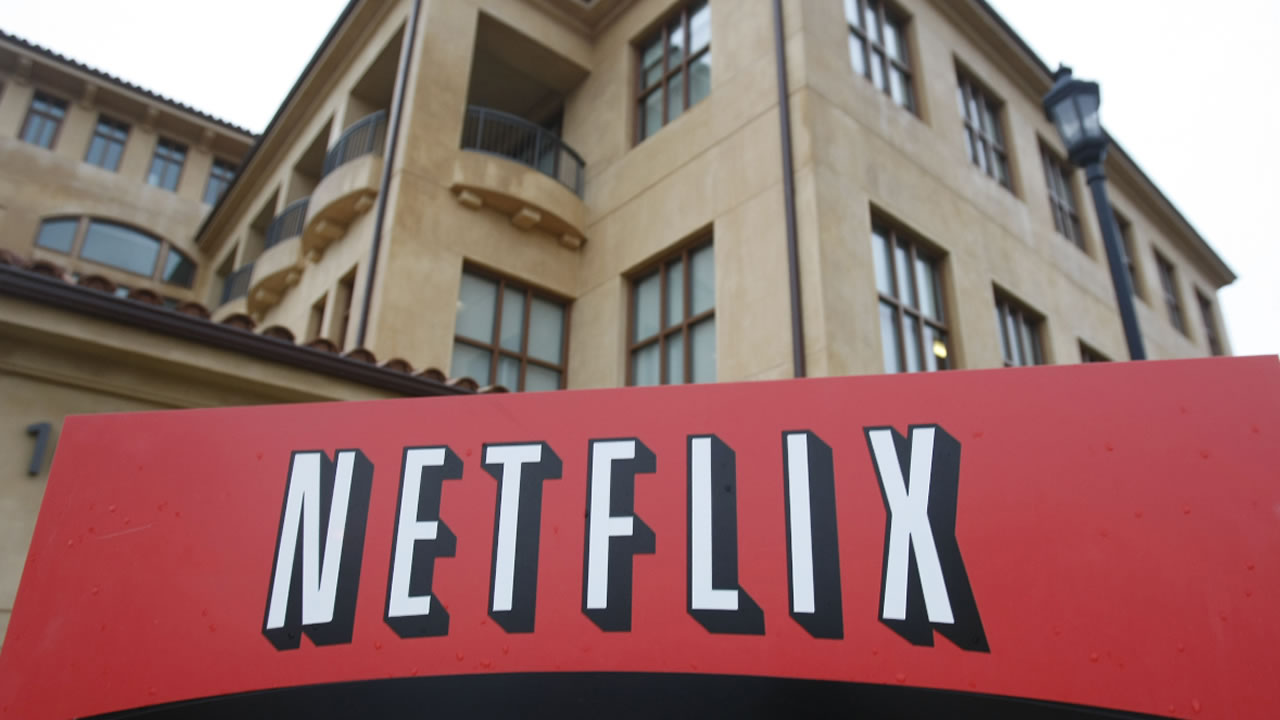 This Jan. 29, 2010, file photo, shows the company logo and view of Netflix headquarters in Los Gatos, Calif.