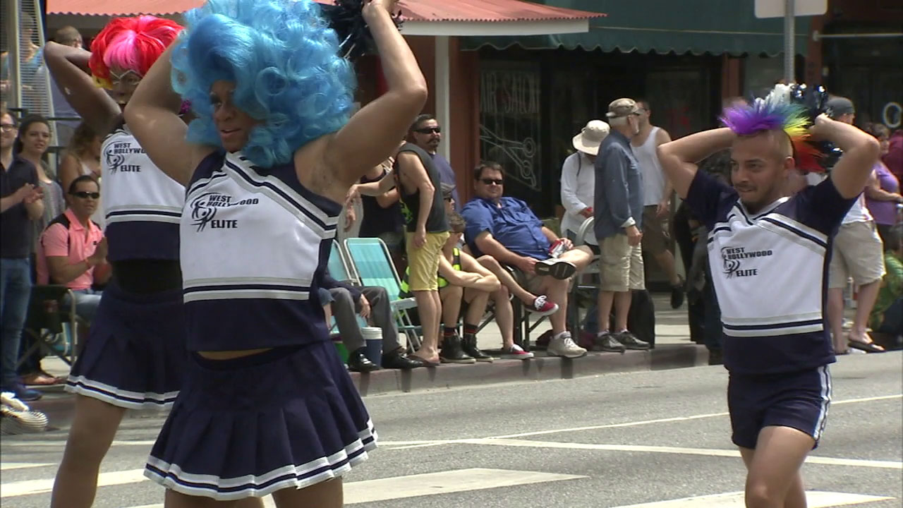 Participants march in a previous year's LA Pride Music Festival and Parade in West Hollywood.