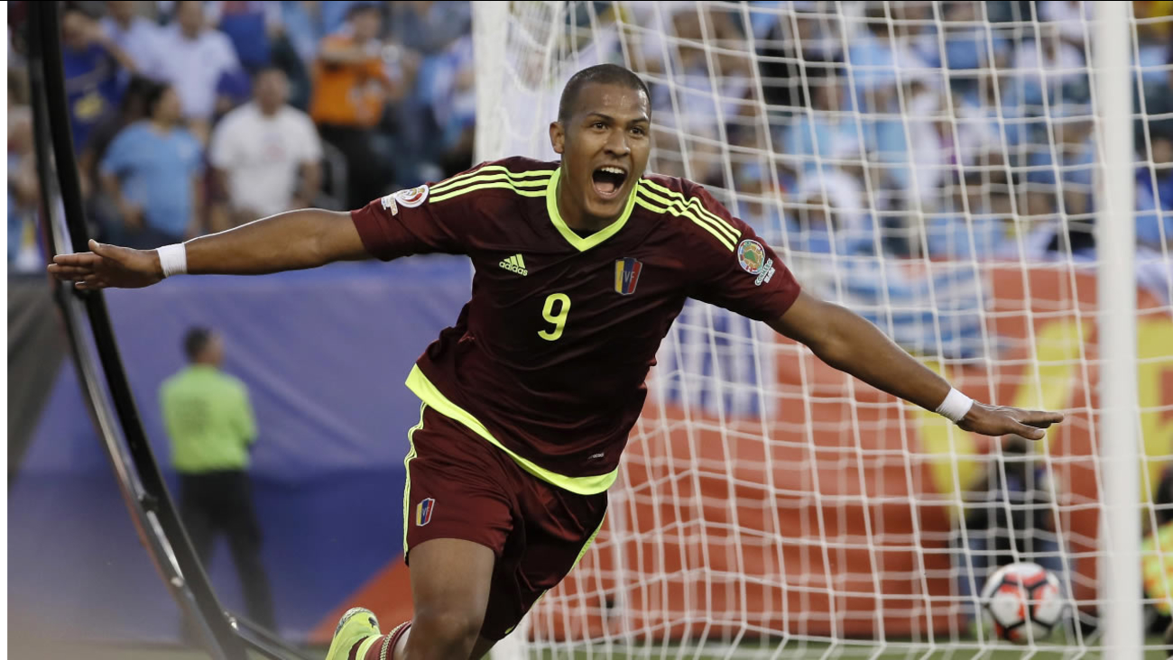 Venezuela's Rondon reacts after scoring a goal during the first half of a Copa America Group C soccer match against Uruguay on Thursday, June 9, 2016, in Philadelphia. (AP Photo)