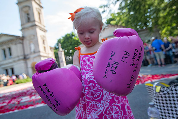 <div class='meta'><div class='origin-logo' data-origin='none'></div><span class='caption-text' data-credit='John Minchillo/AP Photo'>Lena Worthington, 2, of Louisville, wears boxing gloves as spectators wait for the arrival of Muhammad Ali's funeral procession to enter Cave Hill Cemetery, Friday, June 10, 2016.</span></div>