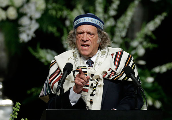 <div class='meta'><div class='origin-logo' data-origin='none'></div><span class='caption-text' data-credit='David Goldman/AP Photo'>Rabbi Michael Lerner speaks during Muhammad Ali's memorial service, Friday, June 10, 2016, in Louisville, Ky.</span></div>