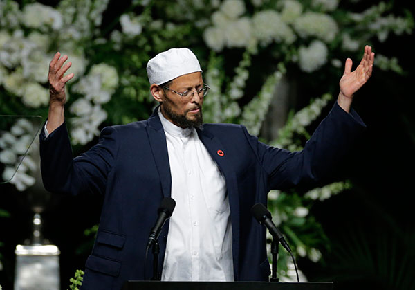 <div class='meta'><div class='origin-logo' data-origin='none'></div><span class='caption-text' data-credit='David Goldman/AP Photo'>Imam Zaid Shakir introduces speakers during Muhammad Ali's memorial service, Friday, June 10, 2016, in Louisville, Ky.</span></div>