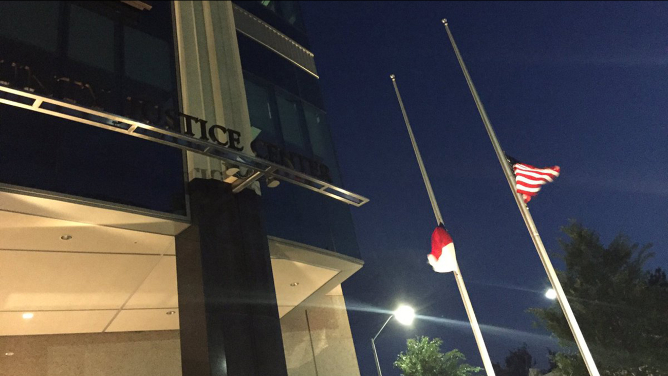 Flags lowered at the Wake County Justice Center for the victims in the Orlando shooting
