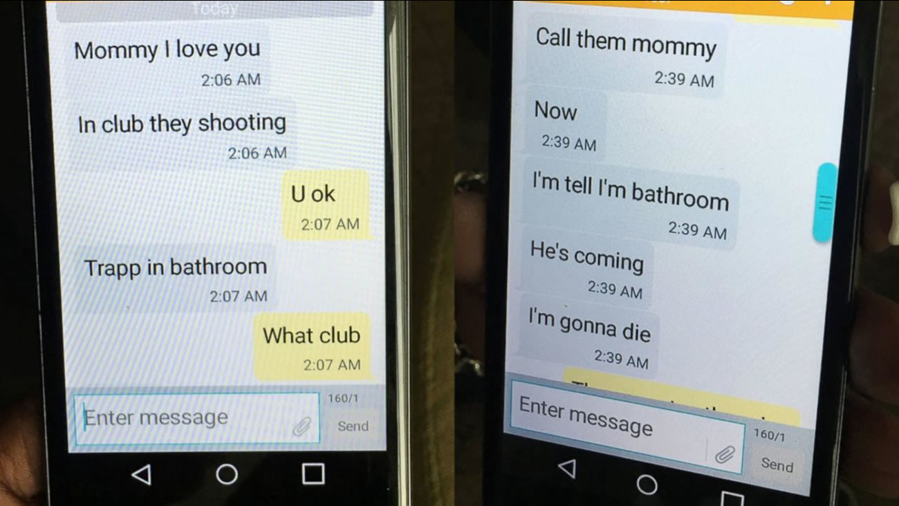 Mina Justice shows a text she received from her son Eddie Justice at Pulse nightclub during a fatal shooting in Orlando, Fla., Sunday, June 12, 2016. Justice hasn't heard from her son since the messages. (Courtesy of Mina Justice via AP)