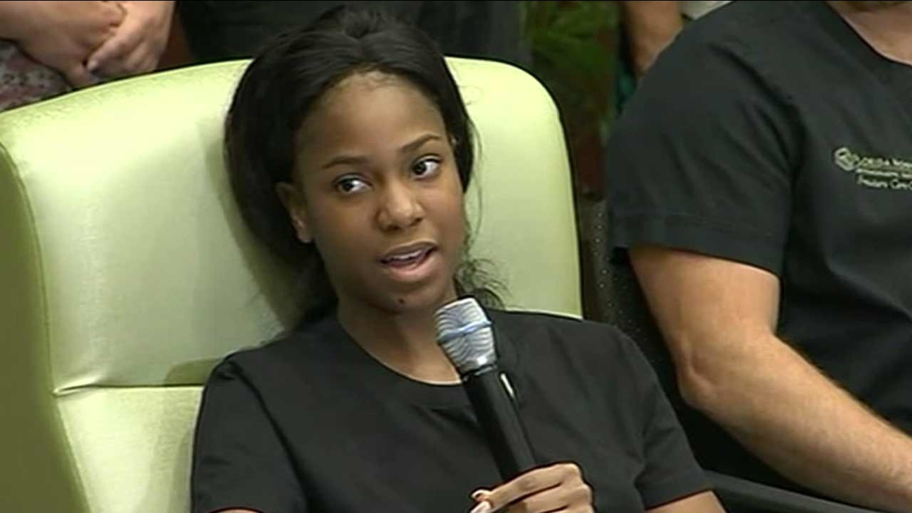 Orlando nightclub shooting survivor Patience Carter speaks at a hospital news conference on Tuesday, June 14, 2016.