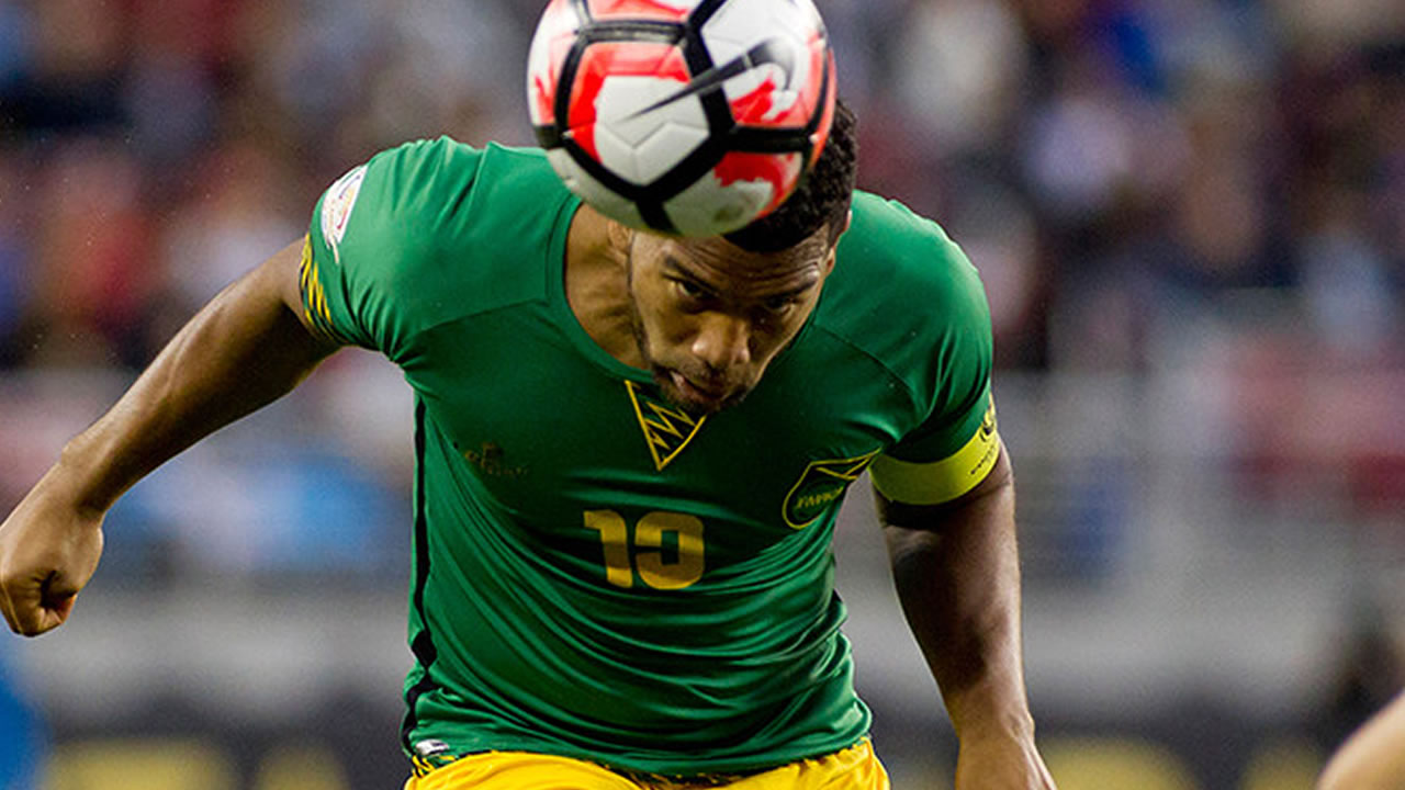 Jamaica's Adrian Mariappa (pictured) heads the ball in a Copa America Centenario match against Uruguay on June 13, 2016, in Santa Clara, California, USA.