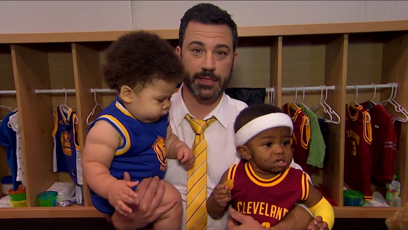 pretty nice ac256 6bb19 Jimmy Kimmel interviews baby Steph Curry and Baby Lebron ...