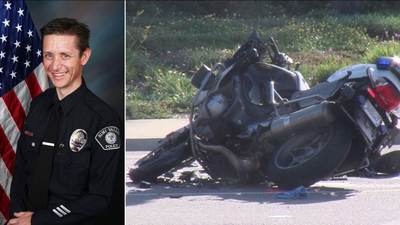 Simi Valley police Officer Tom Carney (L) is shown alongside his wrecked motorcycle after he crashed into a pickup truck on Wednesday, June 15, 2016.