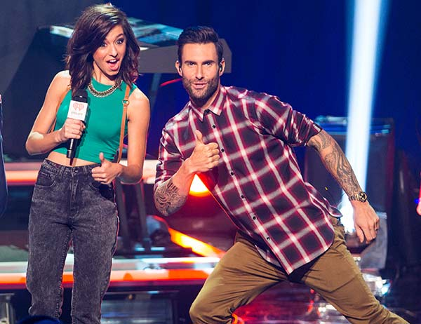 <div class='meta'><div class='origin-logo' data-origin='none'></div><span class='caption-text' data-credit='Photo by Paul A. Hebert/Invision/AP'>The Voice Season 6 contestant Christina Grimmie introduces Maroon 5 at the iHeartRadio Theater on Tuesday, August 26, 2014, in Burbank, Calif.</span></div>