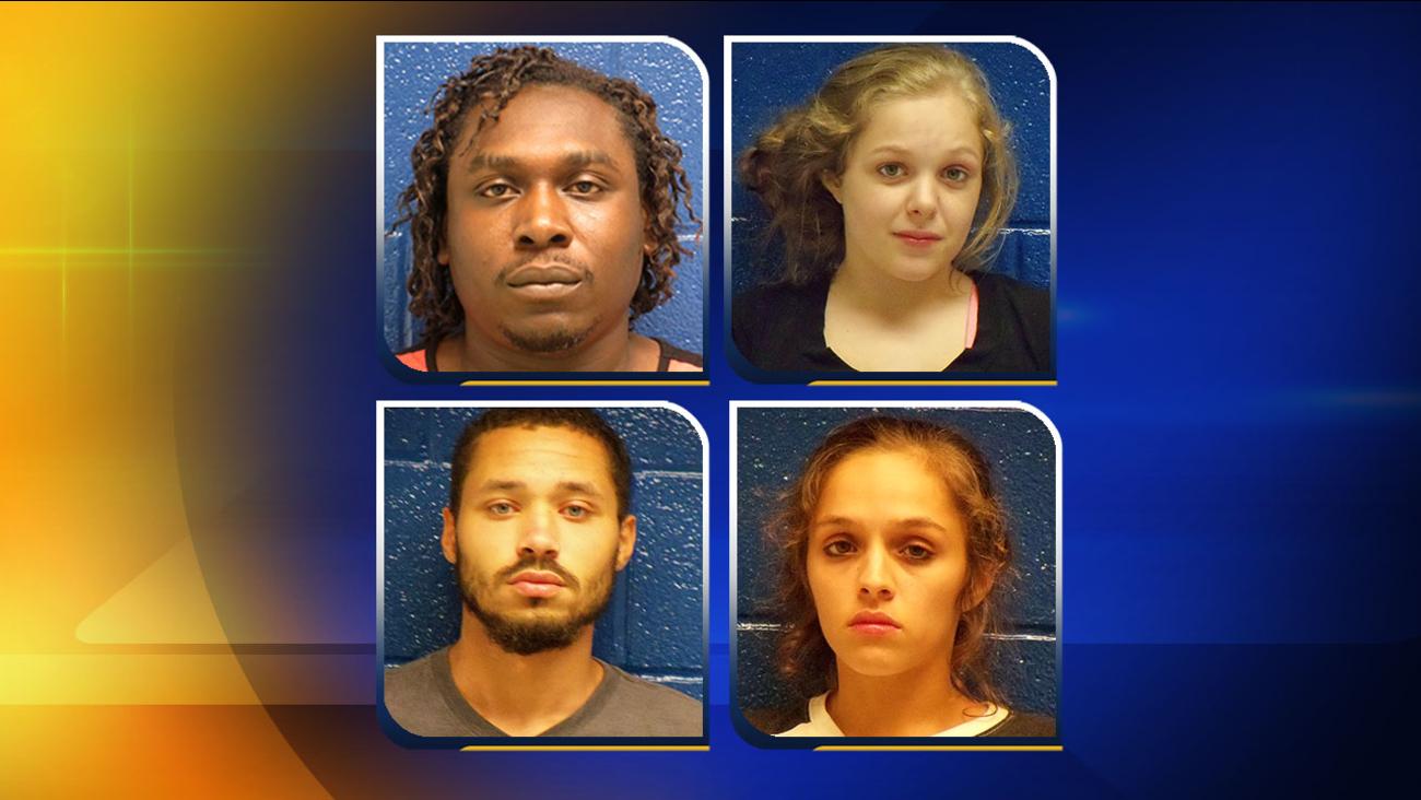 Top, from left, Shannon Sentell Jones, Mallory Nicole Johnson. Bottom, from left, Danny Scott Womack, Madison Deann Johnson.