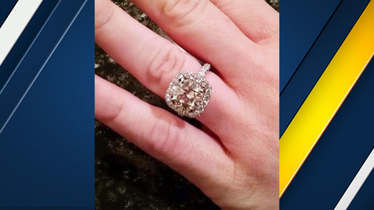 A Costa Mesa woman says her $32,000 engagement ring was taken after she accidentally left it in a bathroom at the airport in San Jose on June 10, 2016.