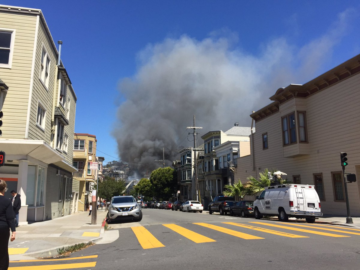 <div class='meta'><div class='origin-logo' data-origin='none'></div><span class='caption-text' data-credit='Photo submitted to KGO-TV by @sfgreenjoe/Twitter'>San Francisco firefighters are battling a 4-alarm fire on the 3300 block of Mission St. in Bernal Heights.</span></div>