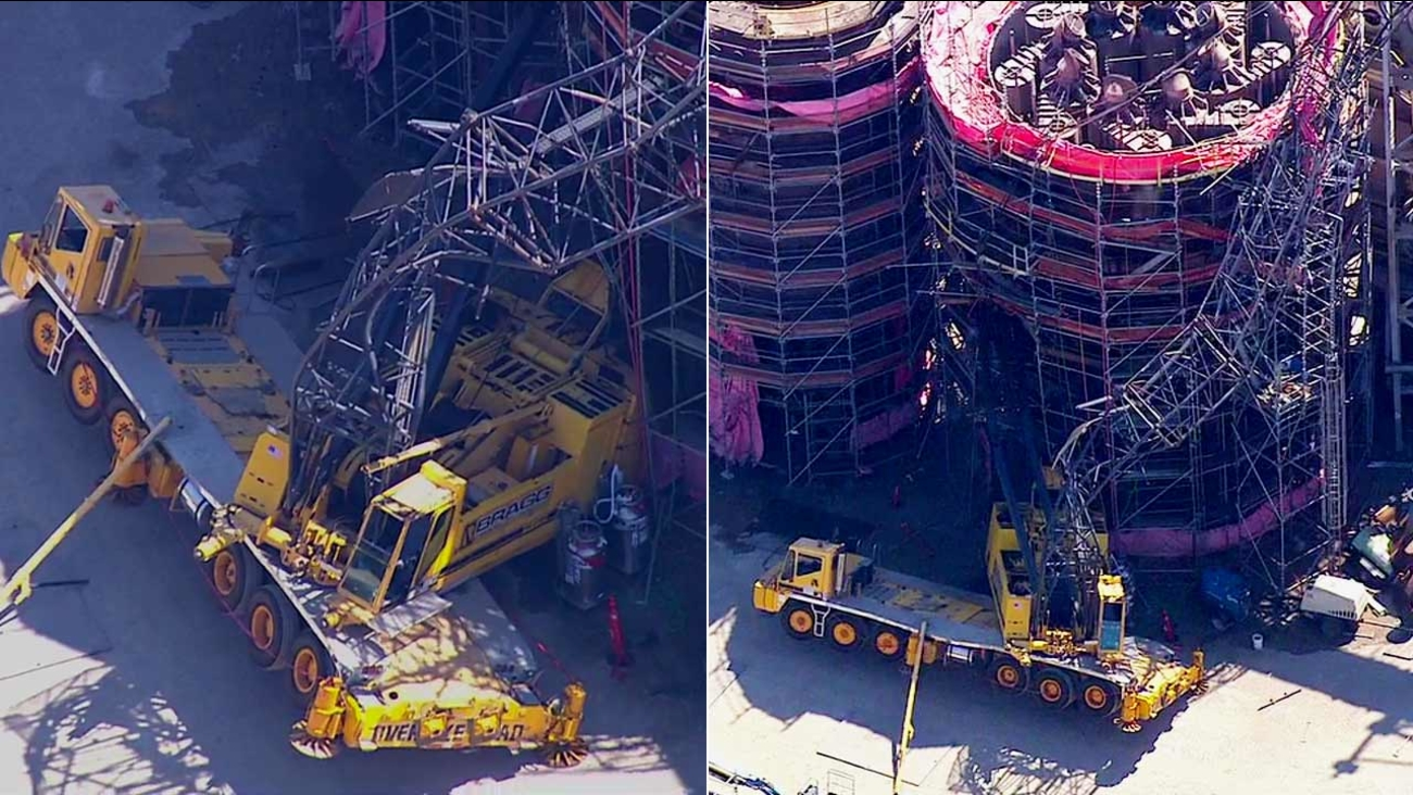 A crane collapsed at the Exxon Mobil Refinery in Torrance on Monday, June 20, 2016.