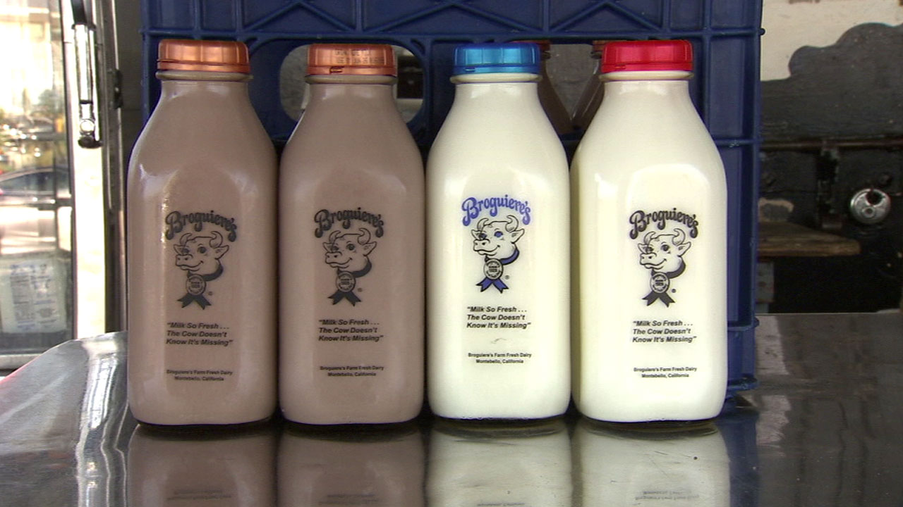 The well-known glass bottles used by Broguiere's Dairy are shown in an undated file photo.