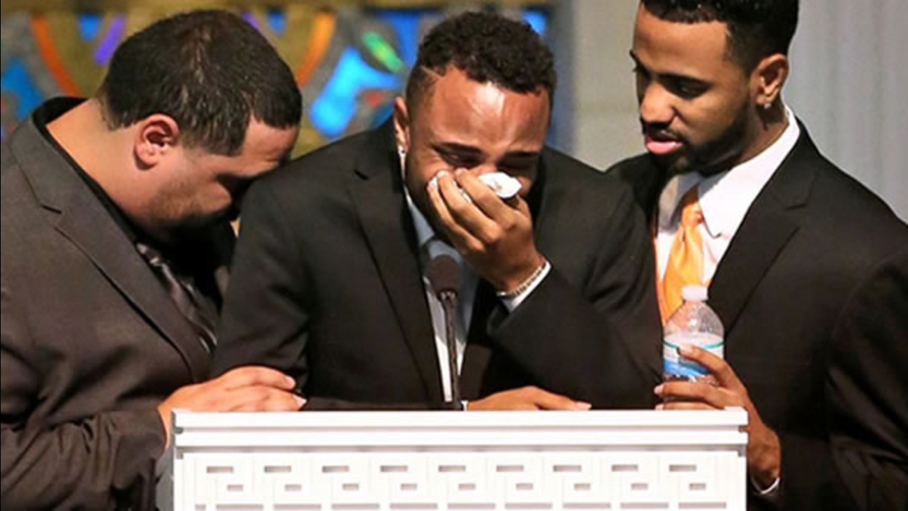 At her funeral at the First United Methodist Church of Orlando, Isaiah Henderson, 21, broke down as he paid heartfelt tribute to his mother.