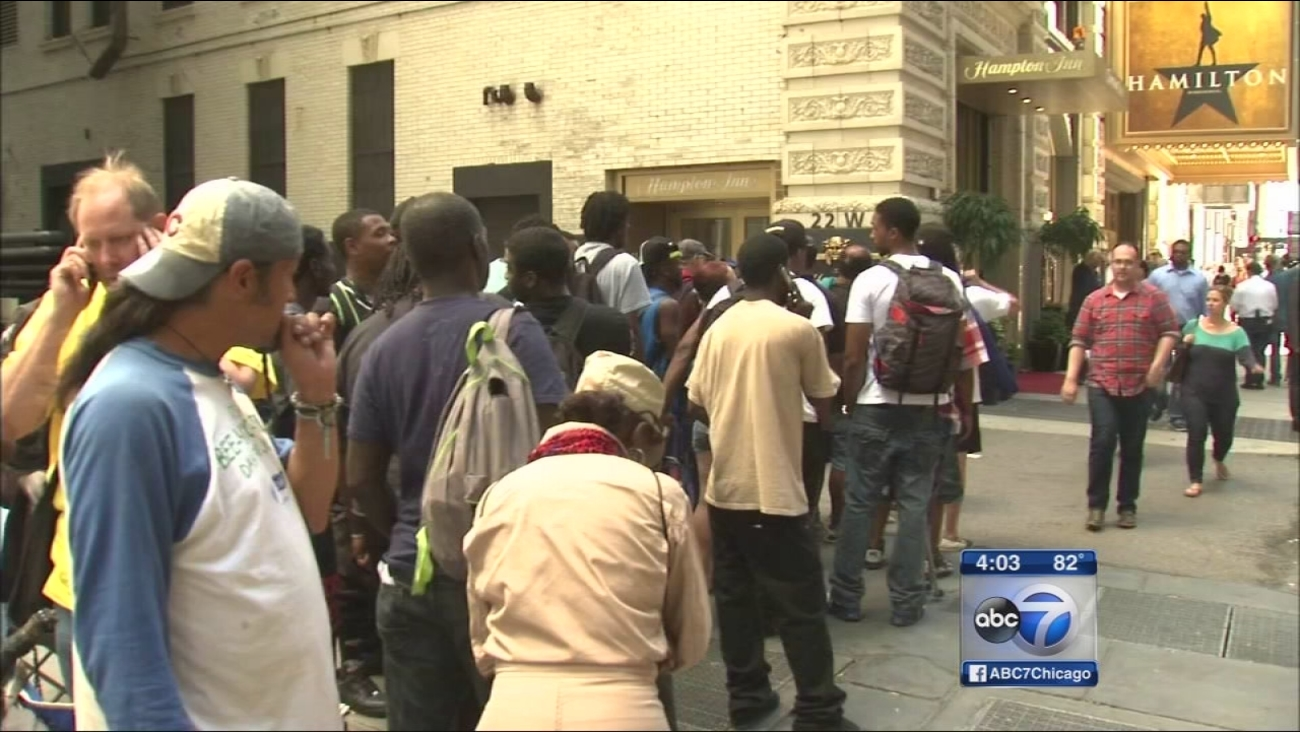 Thousands wait in line for 'Hamilton' tickets