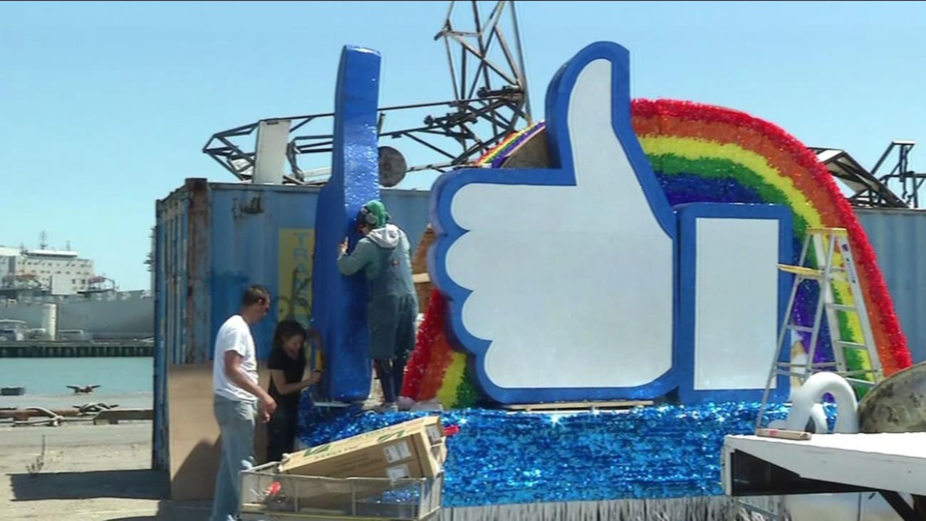 Crews build a Pride Parade float for Facebook on Thursday, June 23, 2016 in San Francisco.